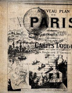 Steampunk Paris Hot Air Balloon Ticket Illustration  Digital Download for Papercrafts, Transfer, Pillows, etc Burlap No. 1685