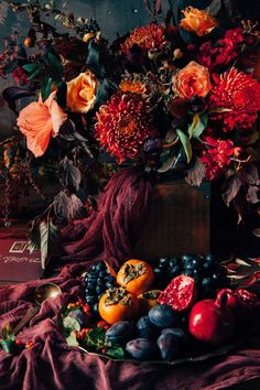 Too much marsala, but I like the use of fruits, here Wedding Themes, Wedding Designs, Our Wedding, Dream Wedding, Wedding Decorations, Floral Wedding, Wedding Flowers, Gothic Wedding, Pirate Wedding