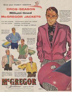 "Super-suave McGregor jackets for your ""Modern Valentine"". 1950s Fashion Menswear, Retro Fashion, Vintage Fashion, Men Fashion, Fashion Boots, Fashion Brand, 1950s Men, 1940s, Mode Vintage"