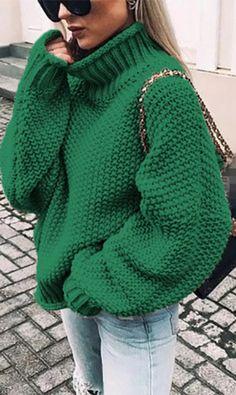 Amazing offer on tech-power Oversize Turtleneck Knitted Sweater Winter Knitwear Plus Size Slim Solid Warm Casual Sweater Women online - Casual Sweaters, Pullover Sweaters, Winter Sweaters, Knit Sweaters, Loose Sweater, Long Sleeve Sweater, Batwing Sleeve, Green Sweater, Sweater Cardigan