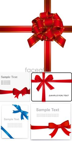 Festive gift bow vector material ribbon vector download functional ribbon bows vector negle Images