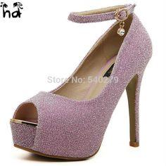 7c8cd7bd7a5b Glittering Sexy High Heels Pumps Platform Shoes Women Party Dress Wedding  Shoes Peep Toe Buckle Strap Woman Lady Pump Size 34-39