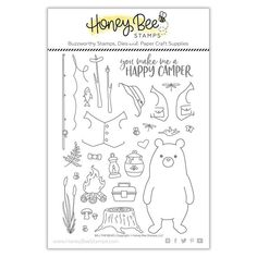 You have a buddy in Bill the Bear! There are 27 Clear Photopolymer Stamps included from Honey Bee Stamps. The pieces are in the shapes of a bear, honey pot, Set Honey, Card Making Templates, Honey Bee Stamps, Paper Craft Supplies, Birthday Love, Penny Black, Pop Up Cards, Hero Arts, Happy Campers