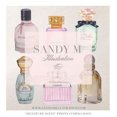 """Sneak peek ... currently creating perfume illustrations (more to come) for  """"Signature Scent"""" prints. #watercolor #perfume #fragrance #illustration #SANDYM #sandymillustration"""