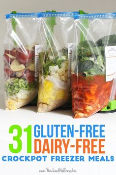 31 Gluten-Free Dairy-Free Crockpot Freezer Meals.  Free printable recipes and grocery list. These recipes are awesome even if you're not gluten-free! #dairyfree #slowcooker #glutenfree