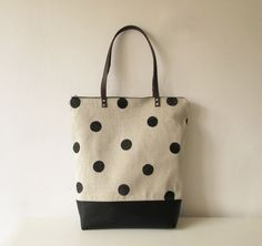 Dotted Large Canvas Tote bag, Book bag, Shopper bag, Casual tote, School bag, Large polka dots, Spotted