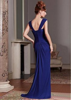 Elegant Chiffon Sheath Square Neckline Full-length Mother of the Bride Dress