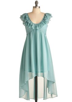 Something Blue Dress - Mid-length, Solid, Ruffles, Empire, Cap Sleeves, Wedding, Vintage Inspired, Blue, Party, Pastel, Sheer, High-Low Hem, V Neck, Daytime Party