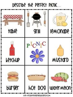 Here's a picture perfect picnic freebie to celebrate with your students: Have a wonderful week! Positively Learning You Might Also Like:Happy Memorial Day Freebie!Open and Closed SyllablesHappy Memorial Day! Picnic Activities, Speech Therapy Activities, Language Activities, Writing Activities, Summer Activities, Preschool Activities, Watermelon Activities, Prek Literacy, Preschool Learning