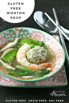 The comforting flavors  of classic Wonton Soup deconstructed and infused into rich chicken broth without the wonton wrappers - leaving this Wonton (Less) Wonton Soup gluten free, low carb and super satisfying!