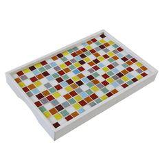 Bandeja Color / Descrição: Mosaico feito com pastilha de vidro em peça de MDF.