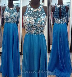 Aline Prom Dresses, Long Prom Dress, Cheap Evening Dresses, Chiffon Party Dresses, Blue Formal Dresses