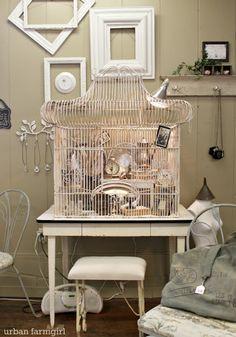 Filled Vintage Birdcage @ Time Worn Interiors