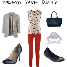 Modern work outfit, created by divineleonine