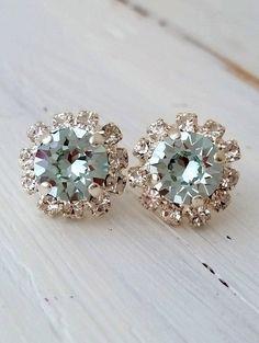 Blue earrings | aquamarine stud earrings | Light blue crystal earrings by EldorTinaJewelry | http://etsy.me/1Oftkxt