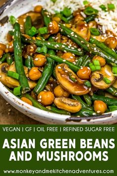 This 20 minute Asian Green Beans and Mushrooms is brimming with healthy ingredients, bathed in amazing umami sauce, and sure to put a smile on your face! Plant Based Eating, Plant Based Diet, Plant Based Recipes, Asian Green Beans, Vegetarian Recipes, Healthy Recipes, Healthy Foods, Yummy Recipes, Recipies