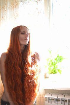 long wavy hair -- red