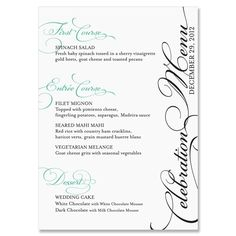 Bella Menu  MENUS TABLE STATIONERY