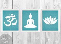 Yoga Print Set - Ohm Symbol, Lotus Flower, Sitting Buddha Yoga Pose - Set of 3 Turquoise Linen Art Prints - Blue Yoga Silhouettes Decor