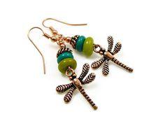 Dragonfly Earrings Copper Dragonfly Earrings by GemstonesOnMyMind, $18.00