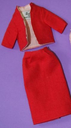 Vintage-Barbie-Reproduction-981-Busy-Gal-RED-LINEN-JACKET-SKIRT-Tagged
