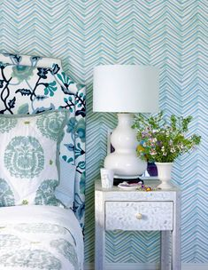 Alan Campbell Potalla headboard with Zig Zag Multi Color wallpaper