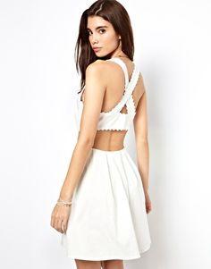 Imagen 1 de Vestido veraniego con ribete de piqué y espalda cruzada de ASOS