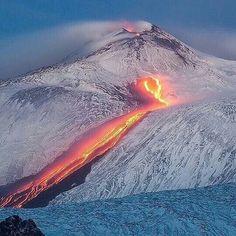 Mount Etna - fire meeting snow