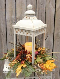 result for decorating thanksgiving church Fall Lanterns, White Lanterns, Wooden Lanterns, Lanterns Decor, Decorative Lanterns, Lantern Centerpieces, Pumpkin Centerpieces, Thanksgiving Decorations, Christmas Decorations