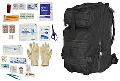 Ultimate Arms Gear Level 3 Assault MOLLE Black Backpack Kit   First Aid Trauma Fully Stocked Kit Contents Come In Polybag, USA MADE >>> Click image for more details.