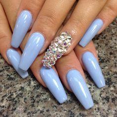Pale Blue Purple Diamond One Nail Single Nails Dope