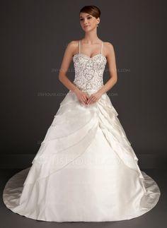 Ball-Gown Sweetheart Chapel Train Satin Wedding Dress With Embroidered Beading (002015538)