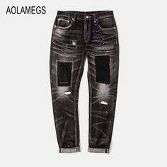 66.77$  Watch now - http://alivt6.worldwells.pw/go.php?t=32765281051 - Aolamegs Jeans Men Fashion Design Patch Distressed Jeans Straight Wash Denim Trousers 2016 Top Quality Slim Fit Denim Streetwear 66.77$