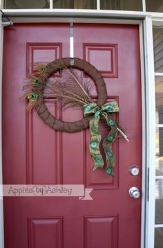 Burlap Peacock Wreath