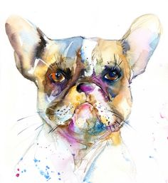Watercolour painting of a french bulldog