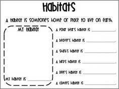 Habitats. I like this worksheet. However, I'll make my own because this font is difficult to read.
