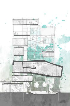 Architectural Drawings Anne Ma, nice section drawing Coupes Architecture, Architecture Design, Architecture Art Nouveau, Plans Architecture, Architecture Graphics, Architecture Portfolio, School Architecture, Architecture Program, Architecture Diagrams