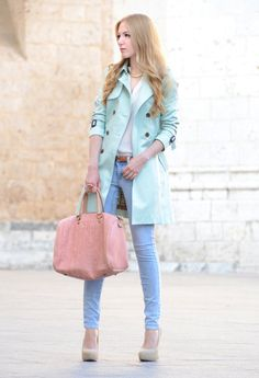 Another pastel trench.  Love it.  #pastels #colors #fashion #outfit #accessories #handbag #shoes #pumps #coloredjeans #coloredpants #details #effortless #weekend #casual #chic #style #errands #onthego