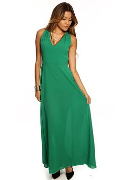 This sultry cocktail maxi dress features a beautiful bold color v-necline, sleeveless, cutout sides and back, elastic band in back, sheer material long and fitted.