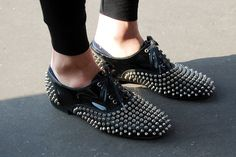 I am thinking bedazzler + gluegun + payless.  Done and Done!  Source: gangstafornothing