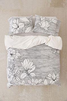 Magnolia Lines Duvet Cover