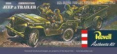 Revell Radio Jeep & Communications Trailer S Vintage Models, Vintage Box, Old Models, Plastic Model Kits, Plastic Models, Toys In The Attic, Monogram Models, Wood Toys Plans, Train Truck