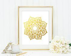 Mandala Gold Glitter Wall Art Print Esoteric by QuantumPrints