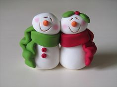 Polymer Clay Snowman Couple
