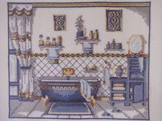 Este cuadro de  cuarto de baño antiguo en punto de cruz  que os voy a mostrar hoy también lo hice hace mucho tiempo, y es uno de los que...