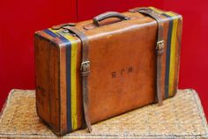 Real Leather Antique Suitcase, made in London, early XX cen, luggage rack car, monogram, striping, brass fittings