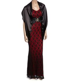 Look at this Black & Red Lace Gown & Shawl - Women & Plus on #zulily today!