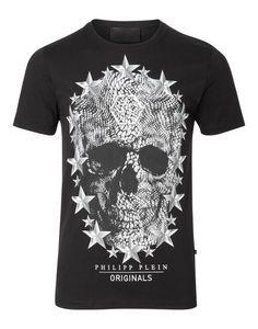 """Philipp Plein T-Shirt Round Neck SS """"NICKEL"""" Men Black"""