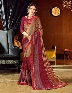 Look gorgeous in this beautiful printed maroon color imported coated fabrics and imported net jacquard with coating saree. Ideal for party, festive & social gatherings. this gorgeous saree featuring a beautiful mix of designs. Its attractive color and des Satin Saree, Silk Sarees, Designer Sarees Online, Saree Collection, Crystal Collection, Party Wear Sarees, Indian Outfits, Indian Clothes, Indian Designer Wear