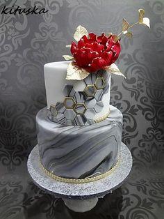 birthday cake by Katarína Mravcová - Cake Decorating Dıy Ideen Modern Cakes, Unique Cakes, Elegant Cakes, Creative Cakes, Beautiful Wedding Cakes, Beautiful Cakes, Amazing Cakes, Marbel Cake, Geometric Cake